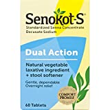 Senokot-S Dual Action 60 Tablets, Natural Vegetable Laxative Ingredient Plus Stool Softener Tablets, Gentle Dependable Overnight Relief of Occasional constipation