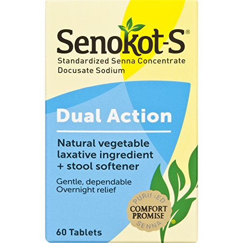 Senokot-S Dual Action 60 Tablets, Natural Vegetable Laxative Ingredient Plus Stool Softener Tablets, Gentle Dependable Overnight Relief of Occasional - 60 Concentrate Tabs