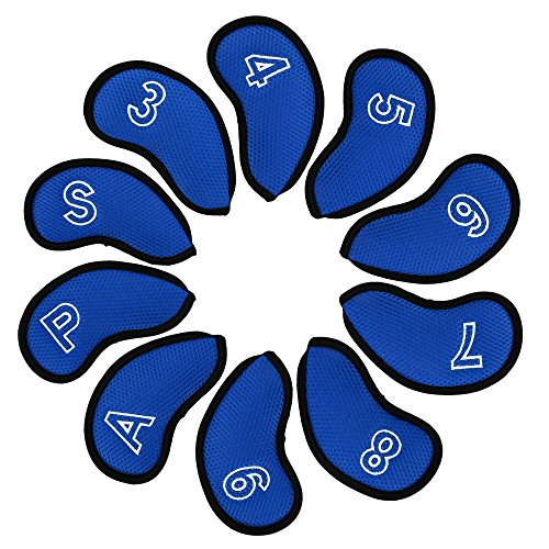 Golf Iron Headcovers 10PCS Neoprene Head Covers Set Club Protector LOB Wedges for Callaway Cobra Ping G30 G25 Taylormade M2 M1 Titleist 718 AP1 AP2 AP3 (Blue)