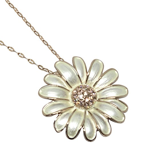BellaMira Women's Rose Gold Plated Daisy Flower Crystal Enamel Inlay Necklace Earrings Bracelet (as Chosen) in Unique Retail Gift Box - Daisy Ring Stretch