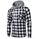 Neal LINK Men's Soft Long Sleeve Flannel Plaid Checker Flannel Hood Button Down Shirt Top (Black, US Size M(Lable Size 2XL))