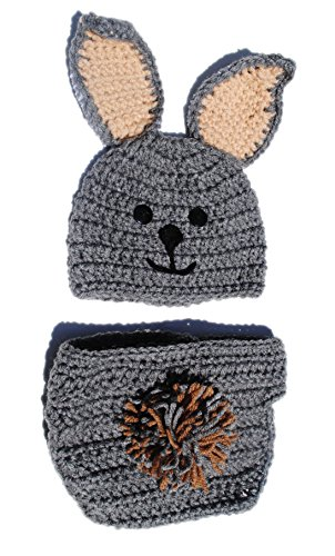 6 - 12 Month Infant Grey Easter Bunny Rabbit Diaper Cover and Hat Photo Prop