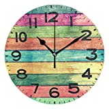 Naanle Chic 3D Vintage Volorful Wood Background Silent Round Wall Clock Decorative, 9.5 Inch Battery Operated Quartz Analog Quiet Desk Clock for Home,Office,School(Rainbow Color)