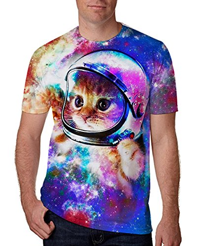 RAISEVERN Unisex 3D Creative Galaxy Printed Short Sleeve T-Shirts Tees