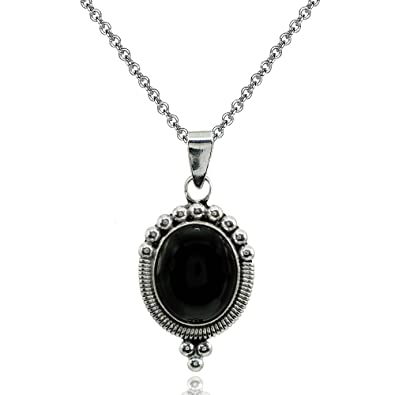 a3f80c51b Image Unavailable. Image not available for. Color: Sterling Silver  Simulated Onyx Oval Oxidized Bali Bead Pendant Necklace