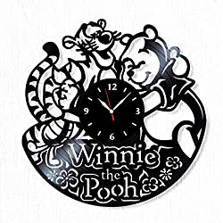 SofiClock Winnie The Pooh Vinyl Record Wall Clock 12, The Best Gift for Decor (A)