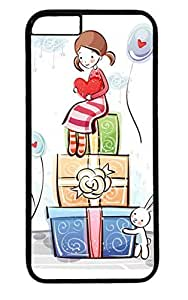 Cute Girl Cartoon PC Black Case for Masterpiece Limited Design iphone 6 by Cases & Mousepads
