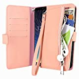 Harryshell Zipper Pocket Card Slot Kickstand PU Leather Flip Wallet Case Protective Cover with Wrist Strap for Motorola Moto Z4 / Z4 Play (2019) (Pink)