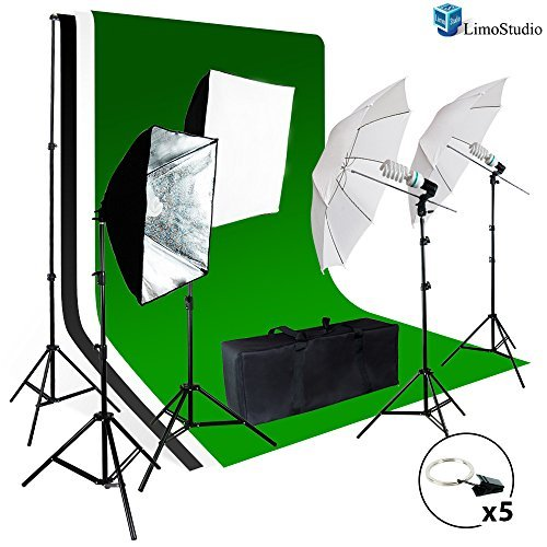 LimoStudio Photo Video Studio Light Kit - Includes Chromakey Studio Background Screen (Green Black White), (3)