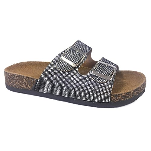Women Casual Buckle Straps Sandals 08 US (Pewter Glitter-A) (Glitter Pewter)