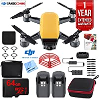 DJI SPARK Fly More Drone Combo (Sunrise Yellow) With Custom Hard Case, 64GB High Speed Card, Corel Paint Version 9, High Visibility Pro Guards, Cleaning Cloth, and One Year Warranty Extension