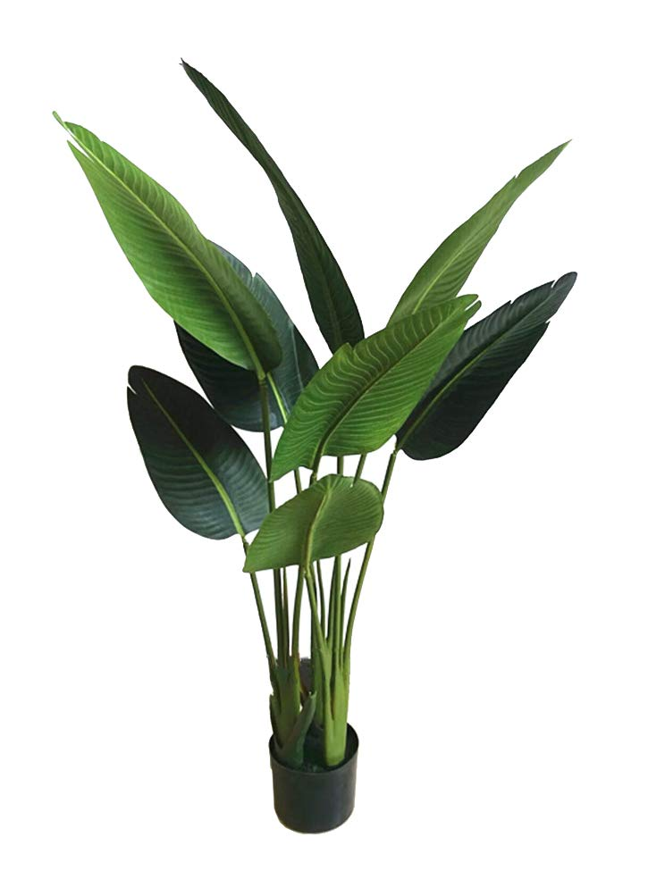 AMERIQUE 4' Bird of Paradise Artificial Tree Silk Plant with Giant Leaves, UV Protection, with Plastic Nursery Pot, Feel Real Technology, Super Quality, 4 feet, Green by AMERIQUE