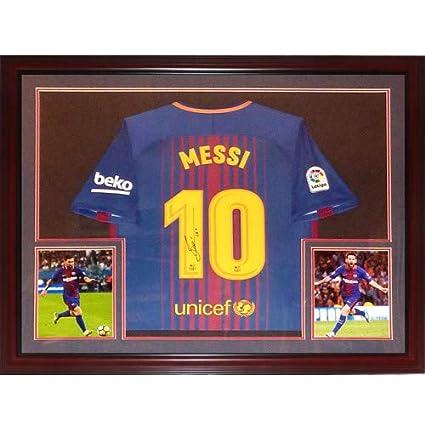 06c5e77ca72 Lionel Messi Autographed Signed Auto FC Barcelona Home #10 Deluxe ...