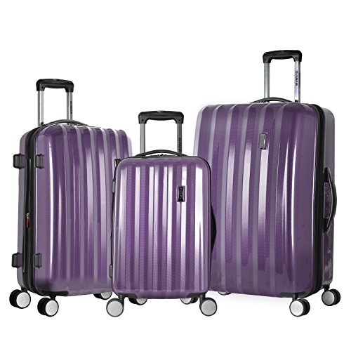 Olympia Titan 3 Piece Expandable Polycarbonate Hard Case Spinner Set, Purple, One Size