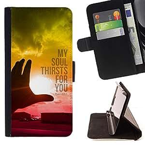 BullDog Case - FOR/Sony Xperia Z1 L39 / - / PSALM 63:1 MY SOUL THIRSTS FOR YOU /- Monedero de cuero de la PU Llevar cubierta de la caja con el ID Credit Card Slots Flip funda de cuer