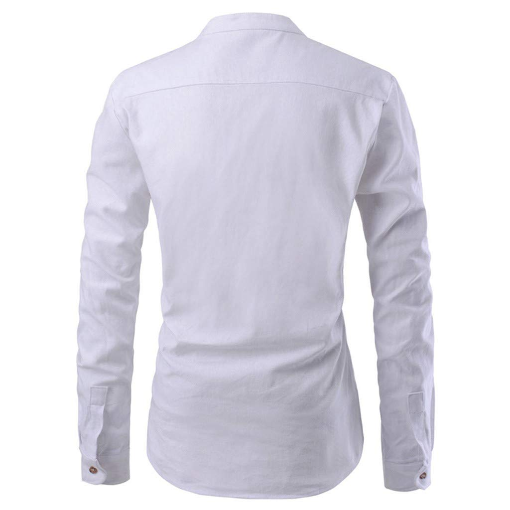 Mnowson Mens Hipster Banded Collar Slim Fit Long Sleeve Dress Shirt with Constrast Trim
