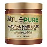 TruePure Natural Hair Mask With Argan Oil, Coconut Oil, Jojoba & Saw Palmetto | Deep Conditioner For Men & Women With Dry, Damaged or Color Treated Hair | Fragrance-Free Hair Repair Treatment, 8oz