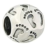 925 Sterling Silver Baby Feet Print on Heart Bead Charm Fits Pandora Charms