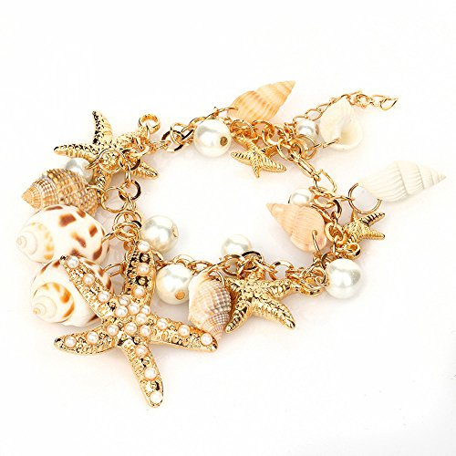 (SymWell(TM) New Fashion Ocean Style Multi Starfish Sea Star Conch Shell Pearl Chain Beach Bracelet Plated Hand Chain)