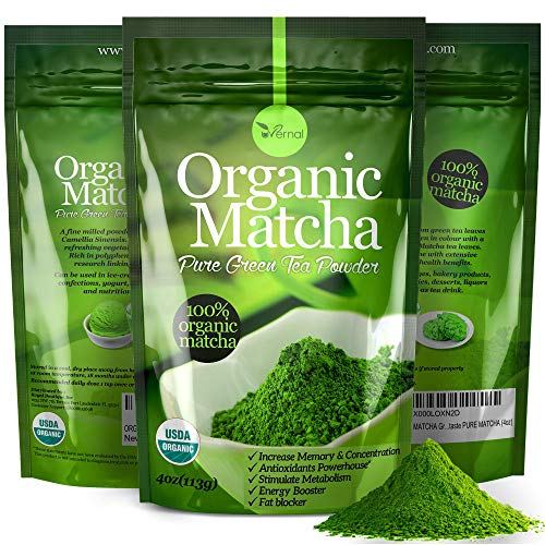 Organic Matcha Green Tea Powder USDA Certified - 100% Pure Macha Ceremonial and Culinary Grade for Smoothies and Baking - 4oz 113g