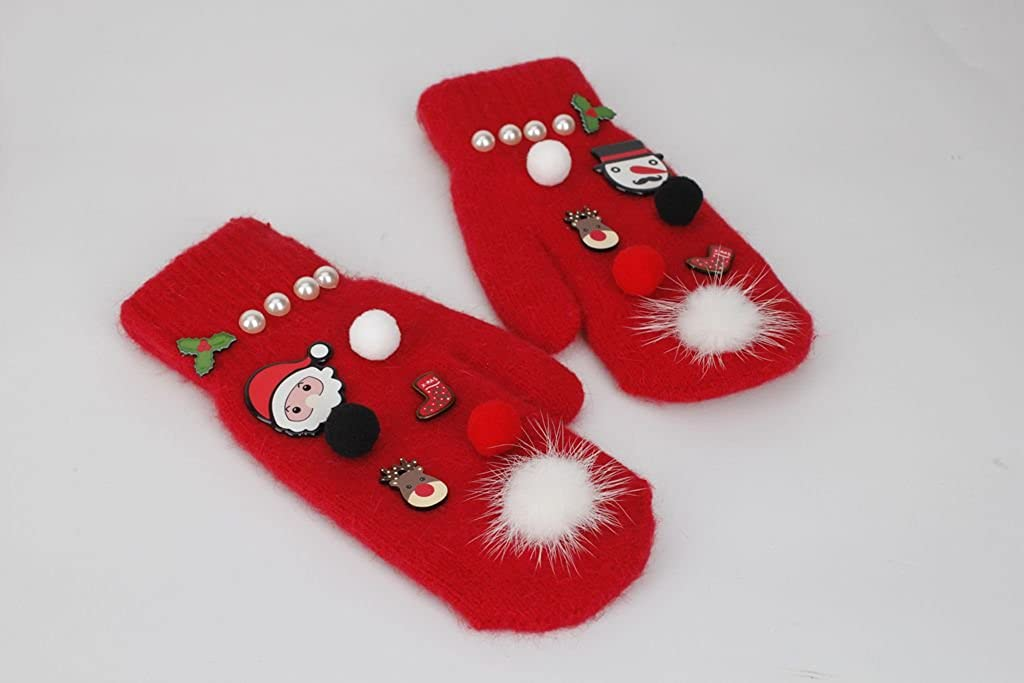 Ouying Red Christmas Glove Hat Set for Chirstmas Gift