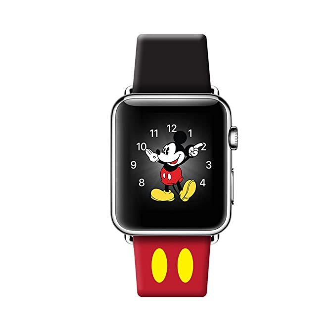 Banda de Apple Watch 42 mm iWatch de Disney Mickey Mouse oídos Correa de piel Para