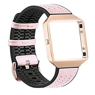 Fitbit Blaze Bands with Frame, bayite New Stylish Leather TPU Straps Replacement for Fitbit Blaze Smart Fitness Watch Women Men