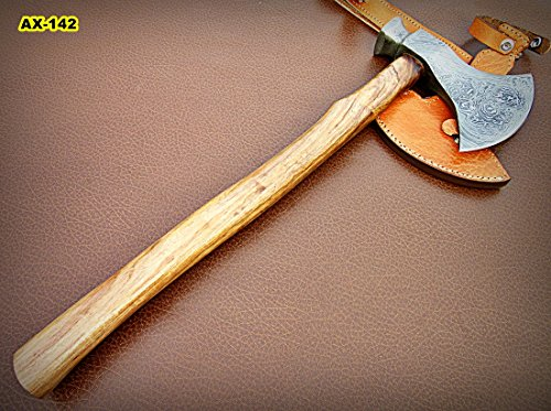 DIST-Ax-142, Handmade Damascus Steel 20 inches Beautiful Axe – Solid Rose Wood Handle