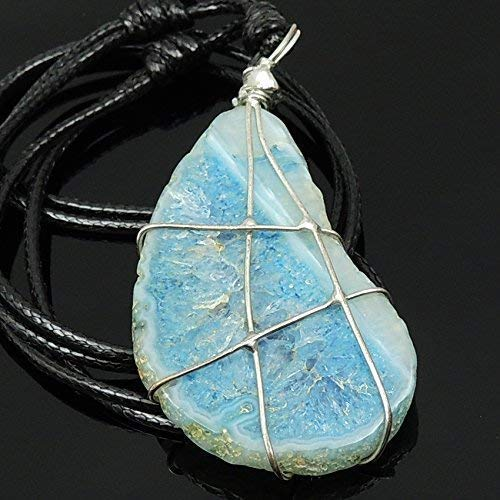 - Raw Crystal Blue Lace Agate Pendant, Chalcedony Cleansing Cooling Chakra Stone, Handmade Braided Necklace Adjustable Wax Rope, Sterling Silver Plated Freestyle Coil design, Yoga, Positive Thinking