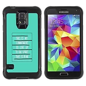 LASTONE PHONE CASE / Suave Silicona Caso Carcasa de Caucho Funda para Samsung Galaxy S5 SM-G900 / Bible Spirit Holy Quote God Green Poster