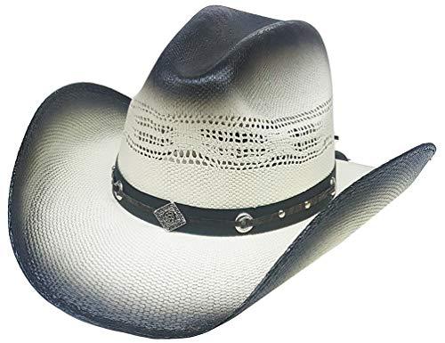 Modestone Traditional Bangora Breezer Straw Cowboy Hat 2 Tone Grey