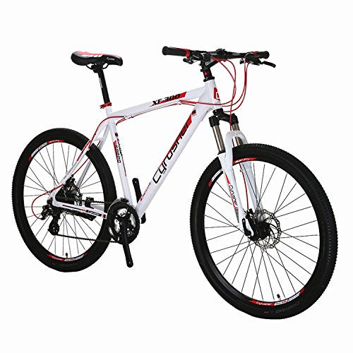 Cyrusher XF300 27.5' Hardtail Mountain Bike MTB Shimano 24 Speed 19' Frame Aluminum Frame Quick Release Wheels Dual Disc Brakes Suspension Fork White Red