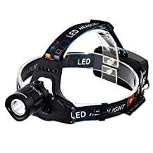 InnoGear 1200 Lumens Waterproof Zoomable Headlamp Headlight Flashlight XM-L2 Rechargeable Battery USB Charging Cable 5 Working Modes: High Mid Dim Flash ASOS for Emergency Hiking Riding Camping
