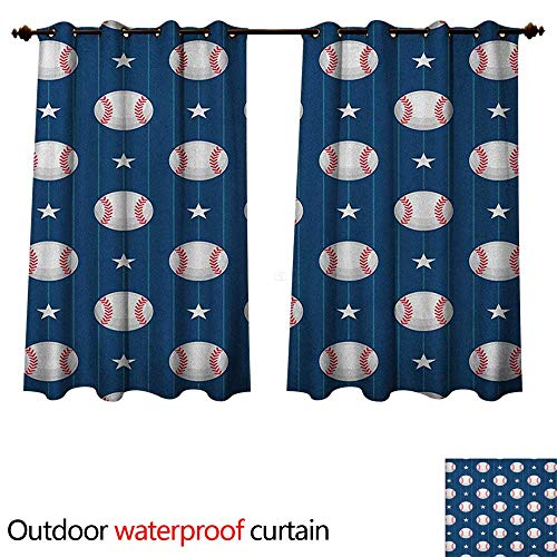 Sports Outdoor Balcony Privacy Curtain Baseball Patterns on Vertical Striped Background Stars Artistic Design W84 x L72(214cm x 183cm)