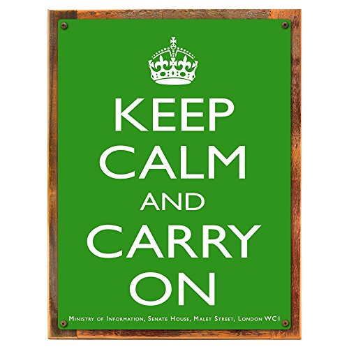 Calm Framed - Wood-Framed Keep Calm Green Metal Sign: British Decor Wall Accent for kitchen on reclaimed, rustic wood