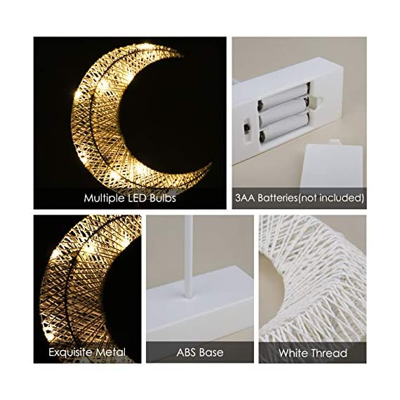 Lewondr Table Lamp, Battery Powered Moon Shape Bedside Light Desk Lamp Christmas LED Decorative Lamp Winding Iron Frame… - Stylish Design: A stylishly designed desk lamp with soft light will bring a dull room to life and bring you a peaceful night! 10 LED beads with warm white light create sweet atmosphere for you to relax yourself at night. There are four available choices for you to meet your demand for personalizing your bedroom, kids' room, study room or living room, etc. Battery powered: Powered by batteries only. This product contains no extra wires, so you can put the lamp at anywhere you want to safely. (AA batteries are not included) Eye Protection: Soft and comfortable, the warm white light of the lamp will create cozy atmosphere for you while warm light is more comfortable for your eyes. No Flickering, No Glaring. - lamps, bedroom-decor, bedroom - 51Krotoza5L. SS570  -