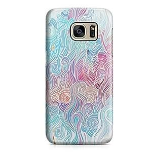 Samsung S7 Edge Case Waves Swirls Pattern Hard Plastic Tough Samsung S7 Edge Cover Wrap Around