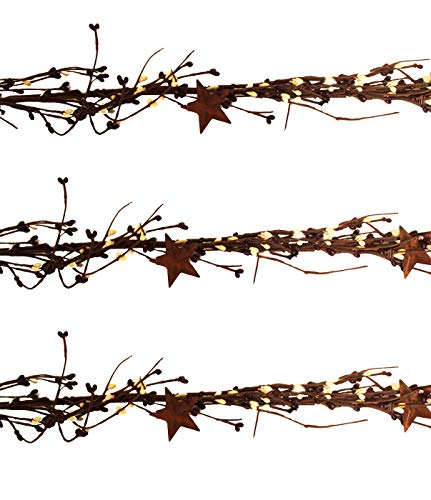 Direct International Pip Berry and Star Garland 40 inch Set of 3 - Farmhouse Country Primitive Fall Craft Decor - Burgundy and Cream FauxBerries (Garland And Star Berry)