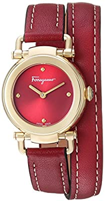 Salvatore Ferragamo Women's 'GANCINO Casual' Quartz Gold-Tone and Leather Watch, Color:Red (Model: SFDC00418) from P2F Holdings, LLC dba Madluxe Group Watches Parent Code