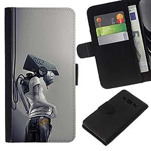 NEECELL GIFT forCITY // Billetera de cuero Caso Cubierta de protección Carcasa / Leather Wallet Case for Samsung Galaxy A3 // Robot Cyborg
