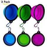GDPETS Portable Dog Bowls, FDA Approved Food Grade Silicone Pet Feeder, Travel Portable Dog Water Collapsible Bowl (3 Pack) with Carabiners, Foldable Food Water Feeder