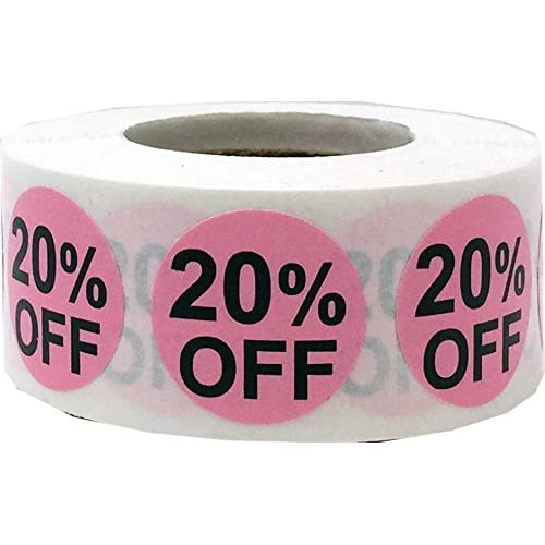 20% Percent Off Stickers Pink With Black Lettering 3/4 Inch 500 Adhesive Labels free shipping