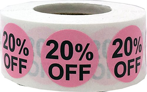InStockLabels 20% Percent Off Stickers 3/4 Inch 500 Adhesive Stickers, Pink With Black Lettering