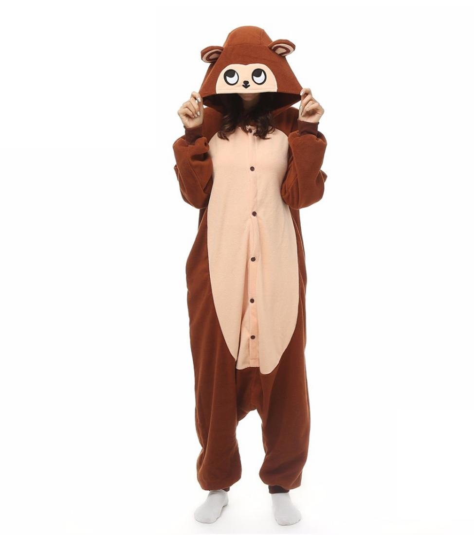 WRH Kigurumi Pyjamas Neue Cosplay/Monkey Trikotanzug/Onesie Halloween Tier Nachtwäsche Braun Patchwork Polar Fleece Kigurumi Unisex Halloween, l