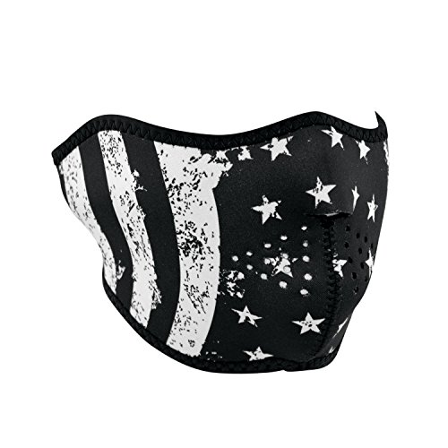 Zanheadgear Neoprene Half Face Mask, Black and White Flag