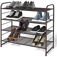 Simple Trending 4-Tier Stackable Shoe Rack, Expandable & Adjustable Shoe Organizer Storage Shelf, Wire Grid