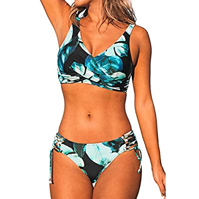 CUPSHE Women's Yellow and Purple Floral Front Cross Lace Up Bikini: Clothing