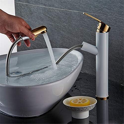 キッチン水栓 デッキマウント洗面所冷たいお湯引き出しシンクの蛇口シングルハンドル浴室の蛇口ホワイトゴールド付きフル銅セラミックバルブプルダウンスプレー真鍮盆地水栓 キッチンとバスルームに適しています