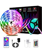 Led Lights, L8star RGB Led Lights Strip for Bedroom with Bluetooth and Remote Controller Led Light Strips Sync to Music