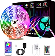 Led Lights, L8star RGB Led Lights Strip for Bedroom with Bluetooth and Remote Controller Led Light Strips Sync